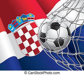 vlag, voetbal, kroatië, ball.