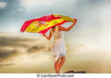 vlag, vrouw, jonge, spaanse