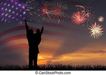 vlag, vuurwerk, amerika