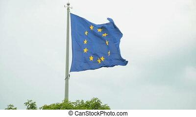 vlag, wind, europa, zwaaiende