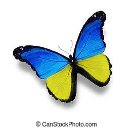 vlag, witte , ukainian, vrijstaand, vlinder