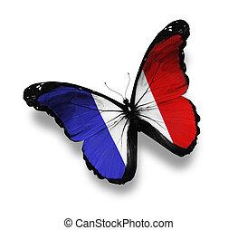 vlag, witte , vrijstaand, franse , vlinder