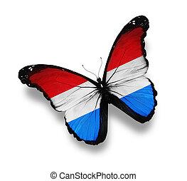 vlag, witte , vrijstaand, luxembourg, vlinder