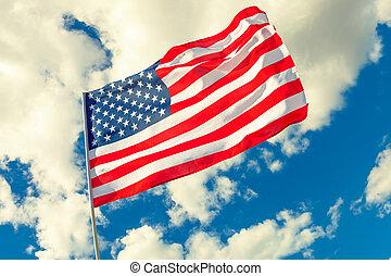 vlag, wolken, achtergrond, usa