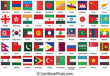 vlaggen, aziaat, iconen