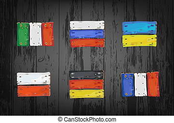 vlaggen, europeaan, landen, houten