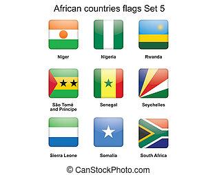 vlaggen, set, vijf, afrikaan, landen