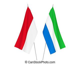 vlaggen, sierra leone, indonesie