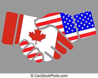 vlaggen, usa, canada, vector, handdruk