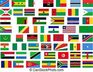 vlaggen, van, alles, afrika, landen