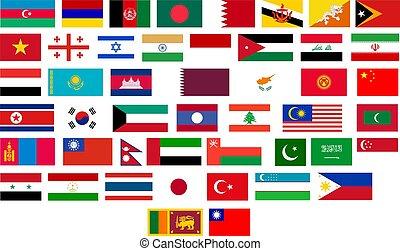 vlaggen, van, alles, aziaat, landen