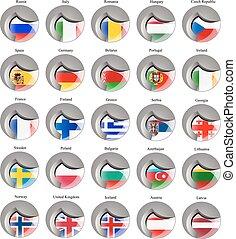 vlaggen, van, de, europa
