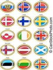 vlaggen, van, de, noordelijk, europe.