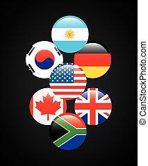 vlaggen, van, landen