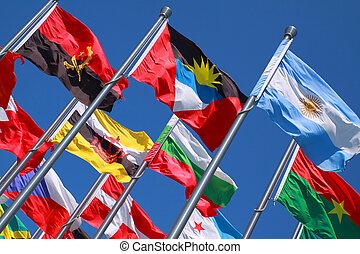 vlaggen, van, landen, rond de wereld