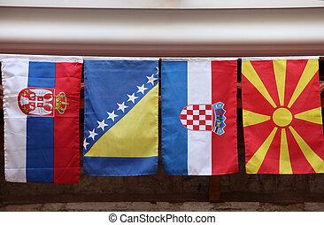 vlaggen, van, landen, van, de, voormalige joegoslavie