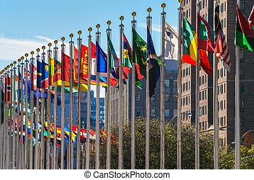 vlaggen, van, naties