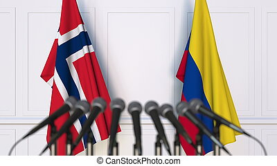 vlaggen, van, noorwegen, en, colombia, op, internationaal, vergadering, of, conference., 3d, vertolking