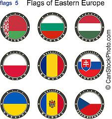 vlaggen, van, oostelijk, europe., vlaggen, 5.