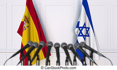 vlaggen, van, spanje, en, israël, op, internationaal, vergadering, of, conference., 3d, vertolking