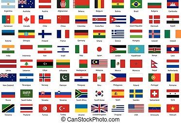 vlaggen, van, wereld, hoogst, staten