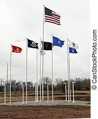 vlaggen, vlieg, op, de, velden, van, eer, militair,...