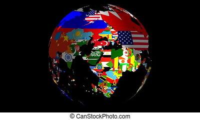 vlaggen, vullen, middelbare , matte, omvat, &, spinnende bol