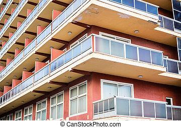 vlak, balkons, blok, aanzicht