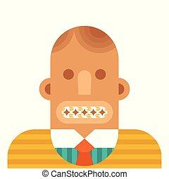 vlak hoofd, concept, zoals, stijl, vector, teeth, zakenman, munt