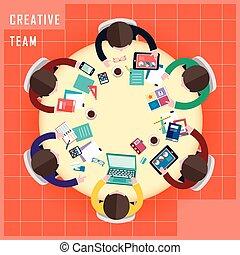 vlakke bovenkant, werken, creatief, ontwerp, team, aanzicht