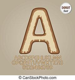 vlakte, donut, alfabet, en, cijfer, vector