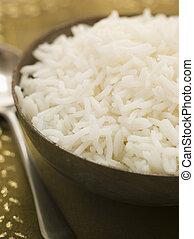 vlakte, gekookt, kom, basmati rijst