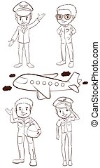 vlakte, piloten, schetsen