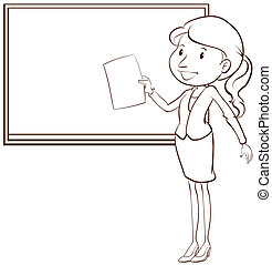 vlakte, schets, leraar