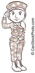 vlakte, schets, vrouwlijk, soldaat