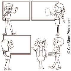 vlakte, schetsen, leraren, klaslokaal