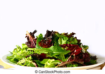 vlakte, vermengde salade, op, een, schaaltje