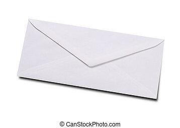 vlakte, witte envelop