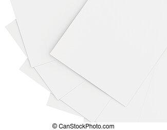 vlakte, witte , papier, stapel