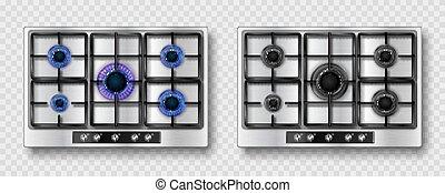 vlam, gas, staal, kachels, raspen, black , blauwe