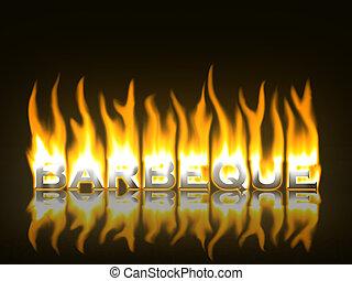 vlammen, barbeque