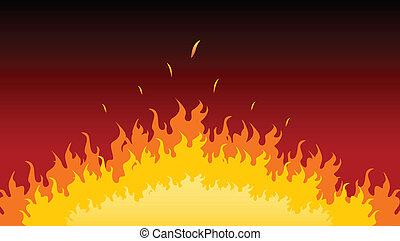 vlammen, burning, in, vuur