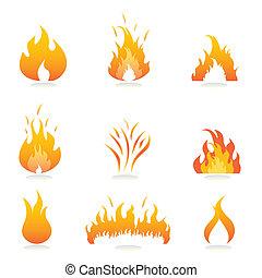 vlammen, en, vuur, tekens & borden