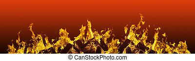 vlammen, vuur, brandend, vurig, grens, rood