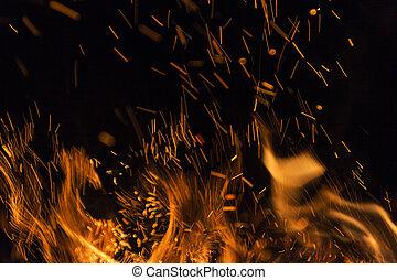 vlammen, vuur, op, textuur, isol, achtergrond., black , brand, vlam, afsluiten