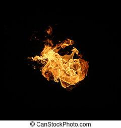 vlammen, vuur, vrijstaand, verzameling, zwarte achtergrond
