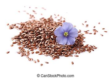 vlas, zaden, met, bloemen