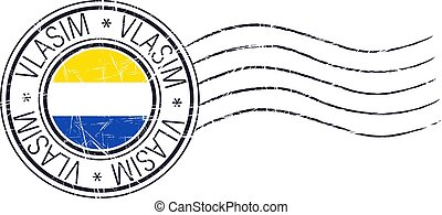 Vlasim city grunge postal rubber stamp and flag on white background