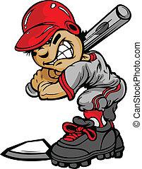 vleermuis, beeld, vector, honkbal, vasthouden, frituurdeeg,...