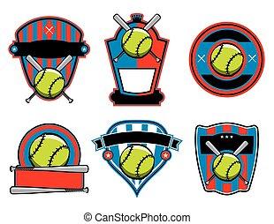 vleermuis, emblems, kentekens, softbal